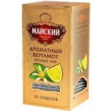 Чай черный в пакетиках для чашки, Майский Ароматный Бергамот 25*2 г.