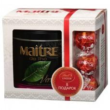 Чай зеленый листовой Maitre Женьшень улун, ж/б + подарок конфеты ЛИНДОР, 150 г