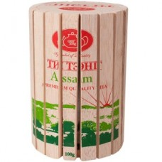 Чай весовой зеленый Ти Тэнг Assam в круглой деревянной коробке, 100 г