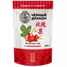 Чай зеленый листовой Черный дракон с шиповником, м/у, 100 г