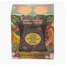 Чай черный листовой Конфуций Годжи-Папайя-Ананас-ПУЭР, банка, 100 г